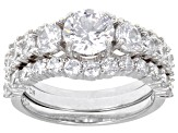 White Cubic Zirconia Rhodium Over Sterling Silver Ring With Bands and Earrings 7.95ctw