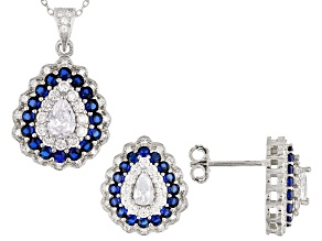 Lab Created Sapphire & White Cubic Zirconia Rhodium Over Silver Pendant With Chain & Earrings