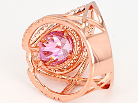 Pink & White Cubic Zirconia 18K Rose Gold Over Sterling Silver Center Design Ring 5.85ctw