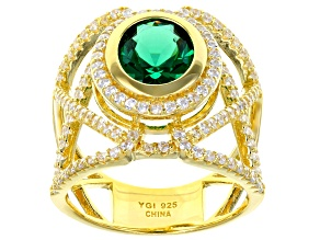 Green & White Cubic Zirconia 18K Yellow Gold Over Sterling Silver Center Design Ring 5.85ctw