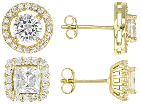Womens Bella Luce White Cubic Zirconia 18k Yellow Gold Over Silver Jewelry Set