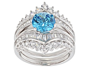 Blue & White Cubic Zirconia Rhodium Over Sterling Silver Center Design Ring With Guard 6.76ctw