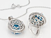 Blue and White Cubic Zirconia Rhodium Over Sterling Silver Jewelry Set 21.18ctw