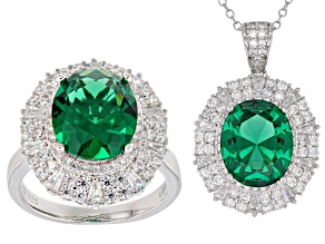 Green and White Cubic Zirconia Rhodium Over Sterling Silver Ring and Pendant With Chain 21.18ctw