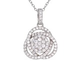 White Cubic Zirconia Rhodium Over Sterling Silver Earrings and Pendant With Chain 2.38ctw