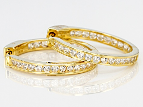 White Cubic Zirconia 18K Yellow Gold Over Sterling Silver Hoop Earrings 2.88ctw