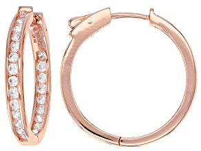 White Cubic Zirconia 18K Rose Gold Over Sterling Silver Hoop Earrings 2.88ctw