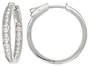 White Cubic Zirconia Rhodium Over Sterling Silver Hoop Earrings 2.88ctw