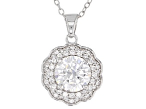 White Cubic Zirconia Rhodium Over Sterling Silver Center Design Pendant With Chain 3.50ctw