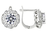 White Cubic Zirconia Rhodium Over Sterling Silver Center Design Earrings 6.75ctw