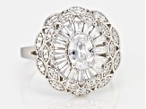 White Cubic Zirconia Rhodium Over Sterling Silver Center Design Ring 3.66ctw