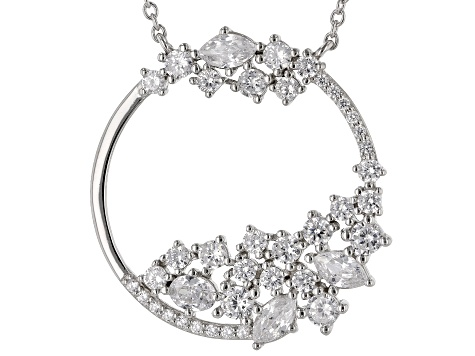 White Cubic Zirconia Rhodium Over Sterling Silver Cluster Necklace 3.50ctw