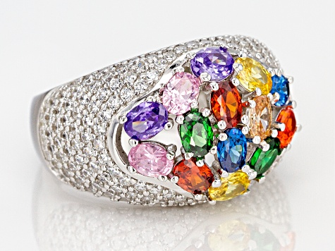 Multicolor & White Cubic Zirconia Rhodium Over Sterling Silver Cluster Ring 6.92ctw