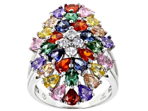 Multicolor & White Cubic Zirconia Rhodium Over Sterling Silver Cluster Ring 6.90ctw