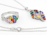 Multicolor & White Cubic Zirconia Rhodium Over Sterling Silver Pendant With Chain & Ring Set
