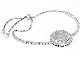 White Cubic Zirconia Rhodium Over Sterling Silver Adjustable Bracelet 2.98ctw