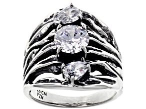 White Cubic Zirconia Rhodium Over Sterling Silver Center Design Ring 3.34ctw