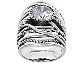 White Cubic Zirconia Rhodium Over Sterling Silver Center Design Ring 6.58ctw