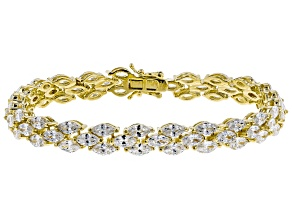 White Cubic Zirconia 18K Yellow Gold Over Sterling Silver Tennis Bracelet 25.00ctw