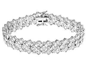 White Cubic Zirconia Rhodium Over Sterling Silver Tennis Bracelet 28.00ctw