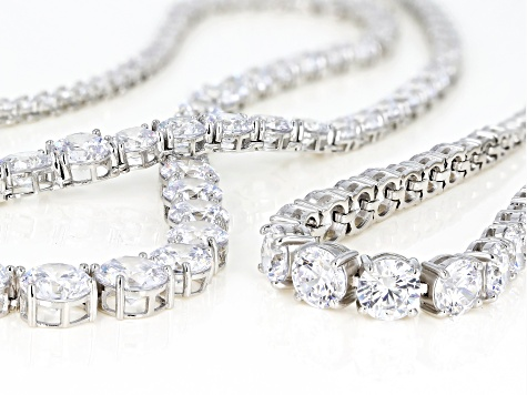 1672a5bb0d822 White Cubic Zirconia Rhodium Over Sterling Silver Necklace & Bracelet Set  100.00ctw