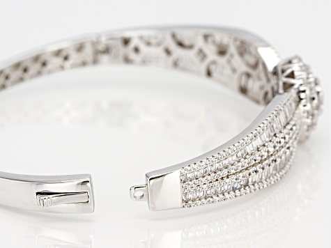 White Cubic Zirconia Rhodium Over Sterling Silver Cluster Bracelet 11.46ctw