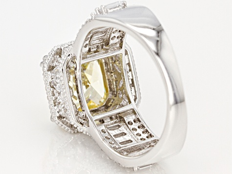 Yellow & White Cubic Zirconia Rhodium Over Sterling Silver Center Design Ring 7.08ctw