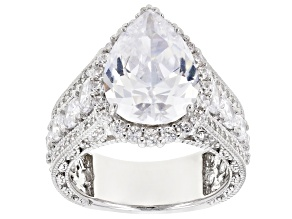 White Cubic Zirconia Rhodium Over Sterling Silver Center Design Ring 7.35ctw