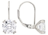 White Cubic Zirconia Rhodium Over Sterling Silver Earrings Set Of 2 12.84ctw