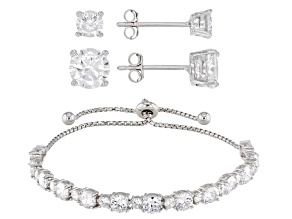 White Cubic Zirconia Rhodium Over Sterling Silver Earrings & Adjustable Bracelet Set 16.33ctw