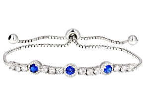 Blue & White Cubic Zirconia Rhodium Over Sterling Silver Bolo Bracelet 2.28ctw