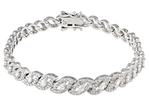 White Cubic Zirconia Rhodium Over Sterling Silver Tennis Bracelet 5.30ctw