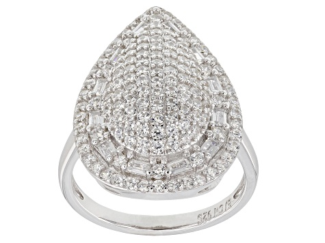 White Cubic Zirconia Rhodium Over Sterling Silver Cluster Ring 3.55ctw