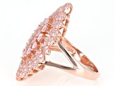 Pink Cubic Zirconia 18K Rose Gold Over Sterling Silver Cluster Ring 2.76ctw