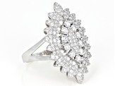 White Cubic Zirconia Rhodium Over Sterling Silver Cluster Ring 2.76ctw