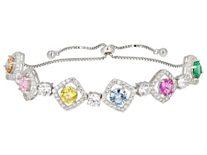 Multicolor Cubic Zirconia Rhodium Over Sterling Silver Bolo Bracelet 15.95ctw