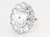 White Cubic Zirconia Rhodium Over Sterling Silver Center Design Ring 15.90ctw