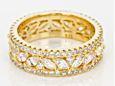 White Cubic Zirconia 18K Yellow Gold Over Sterling Silver Band Ring 6.50ctw