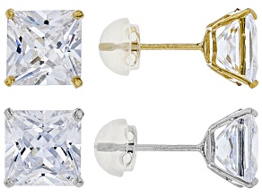 White Cubic Zirconia 14K Yellow & White Gold Stud Earrings Set 12.66ctw