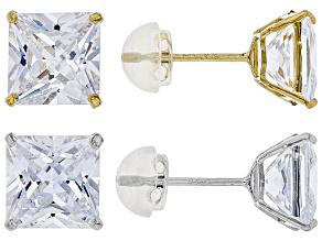 White Cubic Zirconia 14K Yellow & White Gold Stud Earrings Set 12.66ctw