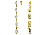 White Cubic Zirconia 18K Yellow Gold Over Sterling Silver Dangle Earrings 2.56ctw