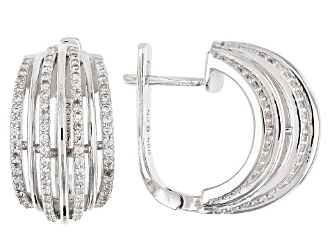 White Cubic Zirconia Rhodium Over Sterling Silver Hoop Earrings 1.68ctw