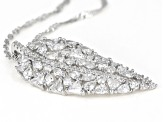 White Cubic Zirconia Rhodium Over Silver Leaf Pendant With Chain 2.35ctw