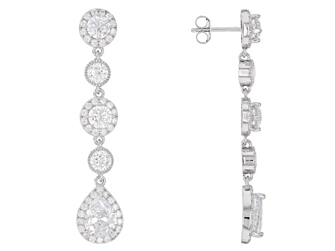 White Cubic Zirconia Rhodium Over Sterling Silver Dangle Earrings 10.00ctw