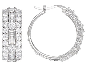 White Cubic Zirconia Rhodium Over Sterling Silver Hoop Earrings 9.72ctw