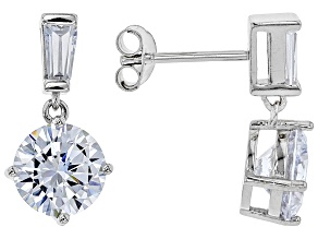 White Cubic Zirconia Rhodium Over Sterling Silver Dangle Earrings 7.38ctw