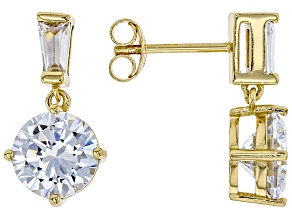 White Cubic Zirconia 18K Yellow Gold Over Sterling Silver Dangle Earrings 7.38ctw