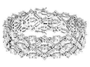 White Cubic Zirconia Rhodium Over Sterling Silver Statement Bracelet 46.85ctw
