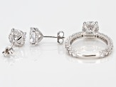White Cubic Zirconia Rhodium Over Sterling Silver Ring & Earrings Set 12.67ctw