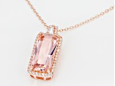 Morganite Simulant And White Cubic Zirconia 18K Rose Gold Over Silver Pendant With Chain 6.36ctw